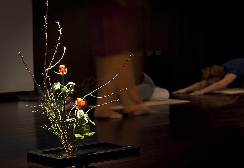ikebana nello studio di yoga integrale di Milano